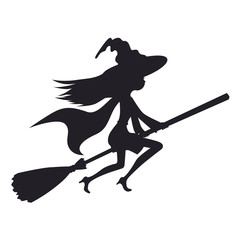 Cute witch flying on a broom vector illustration isolated white background