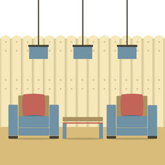Empty Two Sofas With Ceiling Lamps Vector Illustration