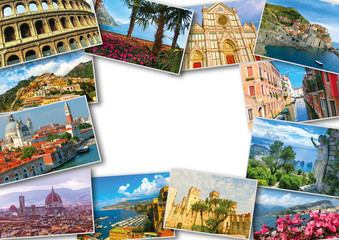 Collage from photos of Italy on white wooden background