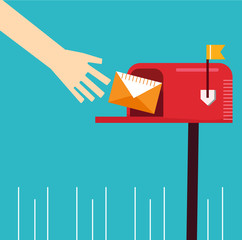 cute red mailbox hand recieve send letter