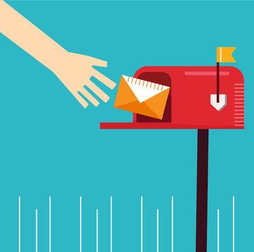cute red mailbox hand recieve send letter