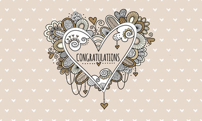 Congratulations Heart Hand Drawn Doodle Vector