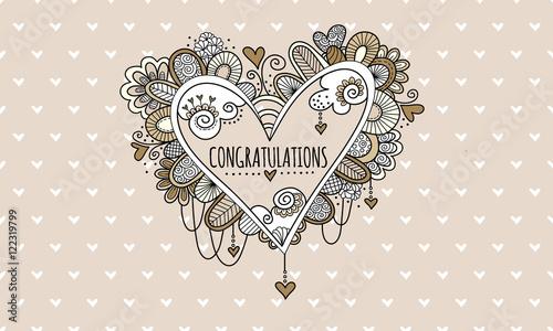 congratulations heart hand drawn doodle vector heart doodle