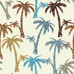 Vintage seamless pattern with palm trees