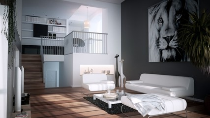gemütliches Wohnzimmer auf zwei Etagen