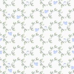 Cute Birds on Branches Seamless Pattern