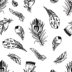 Hand drawn vector painted  seamless pattern with bird feathers i