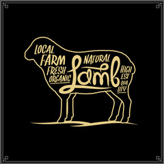 Vector lamb meat label