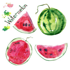 Isolated hand drawn watercolor watermelon