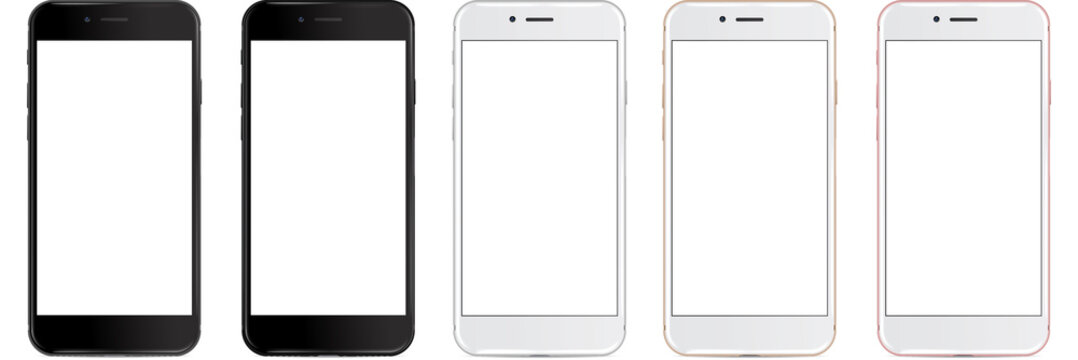 Set of vector smartphones with blank screen - mockup