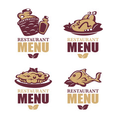 common food and everyday meal, vector collection of logo, symbol