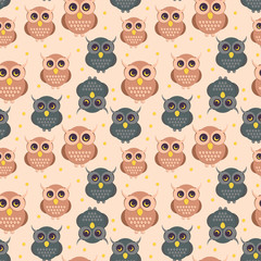 Owl in flat style pattern. Seamless background with owls. Flat style vector illustration.