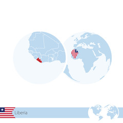 Liberia on world globe with flag and regional map of Liberia.
