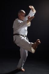Senior man practicing karate.