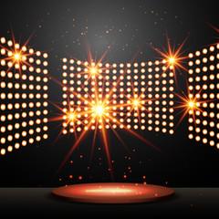 podium with lights and shining stars