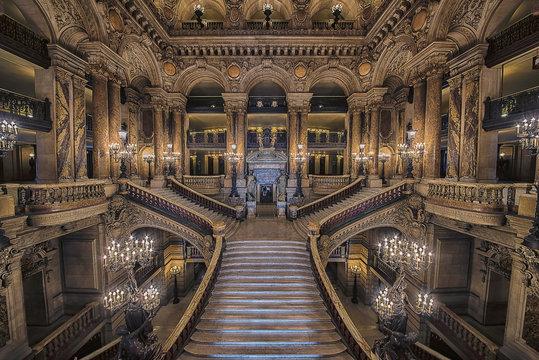 Stairway inside the Opera house Palais Garnier
