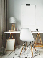 White fur rug and simple desk