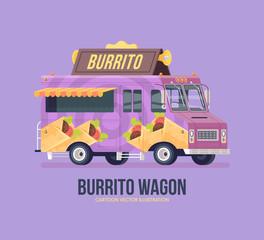 Colorful vector burrito truck. Street cuisine. Food truck. Modern flat illustration.