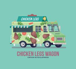 Colorful vector fried chicken legs truck. Street cuisine. Fast food truck. Modern flat illustration.