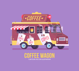 Colorful vector coffee truck. Modern flat illustration.