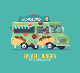 Colorful vector falafel truck. Food truck. Street cuisine. Modern flat illustration.