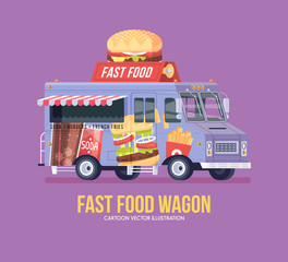 Colorful vector fast food truck. Street cuisine. Burgers, sanwiches, french fries. Food truck. Modern flat illustration.