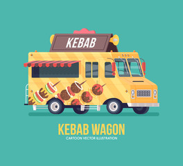 Colorful vector kebab truck. Street cuisine. Barbecue, fried and smoked meat. Food truck. Modern flat illustration.