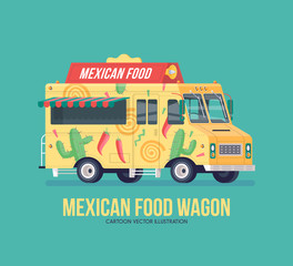 Colorful vector Mexican traditional cuisine truck. Street cuisine. Food truck. Modern flat illustration.