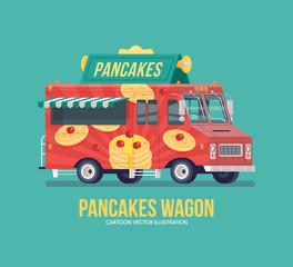 Colorful vector pancakes truck. Street cuisine. Food truck. Modern flat illustration.