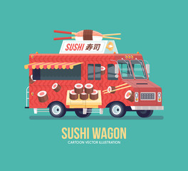 Colorful vector Japanese sushi truck. Street cuisine. Traditional cuisine. Food truck. Modern flat illustration.