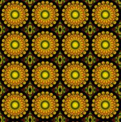 yellow lotus blossom mandala flower, kaleidoscope pattern