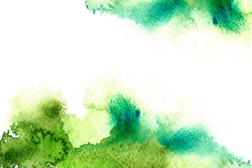 green watery frame.abstract watercolor hand drawn image.coloured splash.white background.