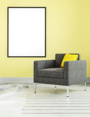 Square shaped living room chair and frame