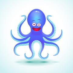 Vector cartoon octopus illustration.
