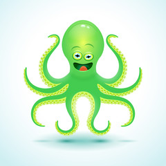 Vector cartoon octopus illustration.
