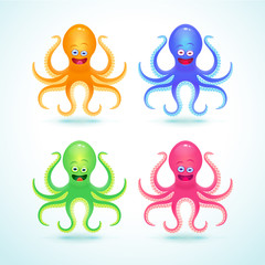 Vector cartoon octopus illustration. Isolated on white.