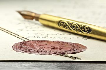 notarielles Wachssiegel auf altem Dokument