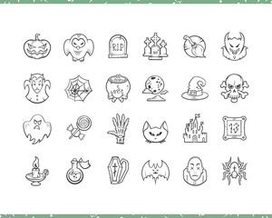 Halloween cartoon icons set. Thin line sketch style labels isolated on white background.
