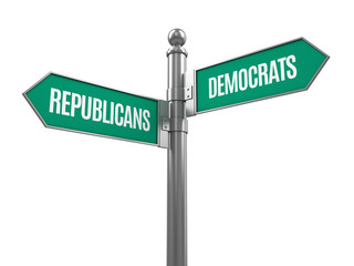 Democrat and republican signpost isolated on white