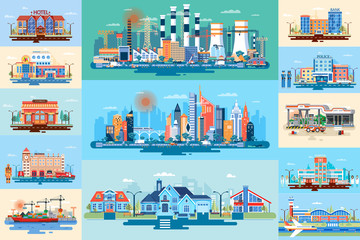 Set vector city elements