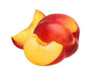 Peach fruit isolated on white background cutout