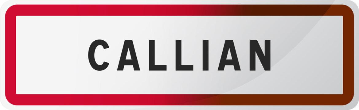 Panneau Callian - Ville du Var - Région Provence-Alpes-Côte d'Azur