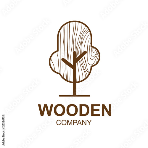 Abstract Icon With Wooden Texturetree Logo DesignVector Illustrationconcept Wood