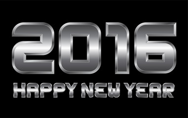 happy new year 2016 - rectangular beveled metal letters