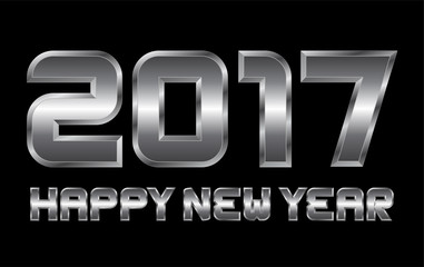 happy new year 2017 - rectangular beveled metal letters