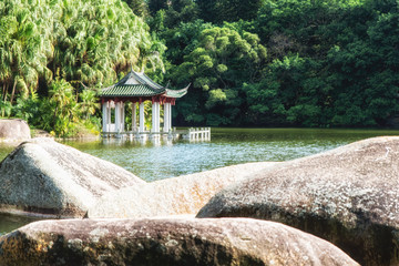 Chinese style pavilion at lake