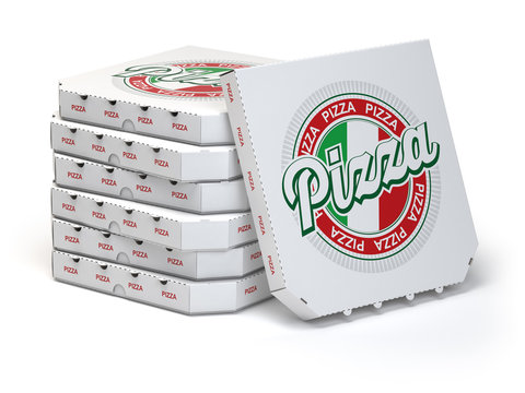 Pizza boxes stack isolated on white,