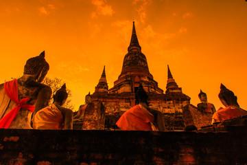 Pagoda at Wat Yai Chai Mongkol temple in Ayutthaya province of Thailand