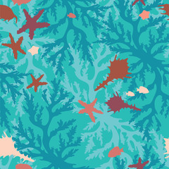 Seamless pattern with corals, fish and seashells.