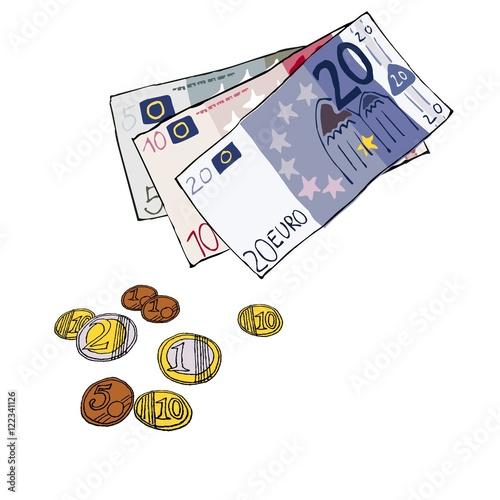 geld euro scheine m nzen handgezeichnet illustration comic illustration vektor. Black Bedroom Furniture Sets. Home Design Ideas